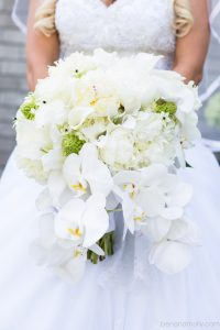 phaelenopsis orchids, peonies, star of bethlehem, hydrangea bridal bouquet