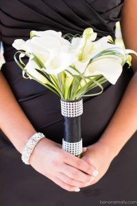 Bridesmaid bouquet, mini callas, lily grass, white bouquet