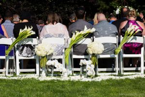 Wedding Ceremony Flowers, Calla, hydrangea, phaelenopsis orchid, rose petals